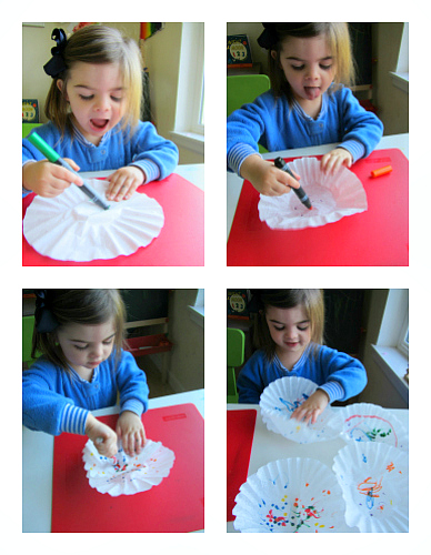 coffee filters coloring the coffee filters