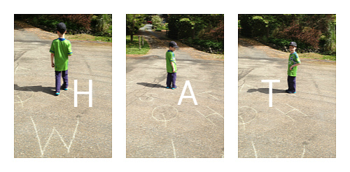 letter activities spelling with sidewalk chalk