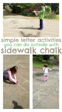letter activities with sidewalk chalk