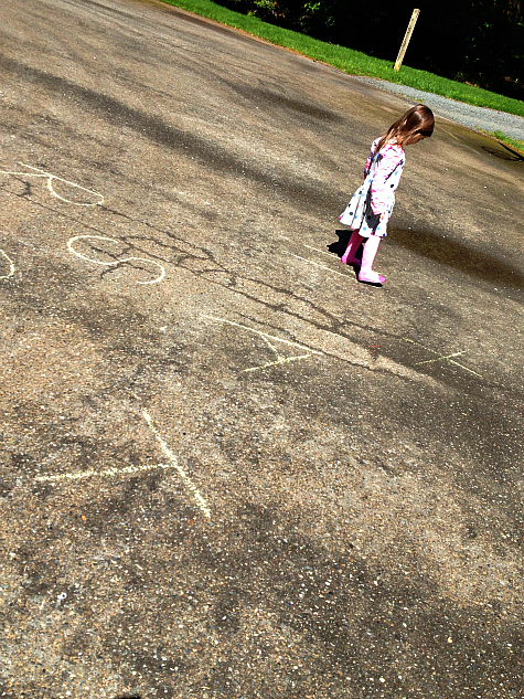 letter activities with sidewalk chalk  for kids