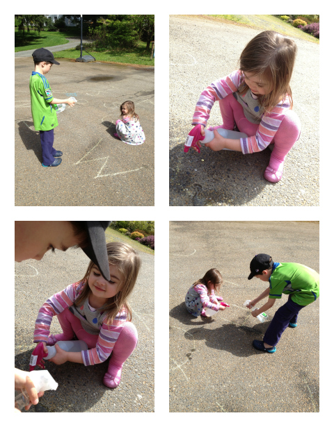 letter spraying with sidewalk chalk