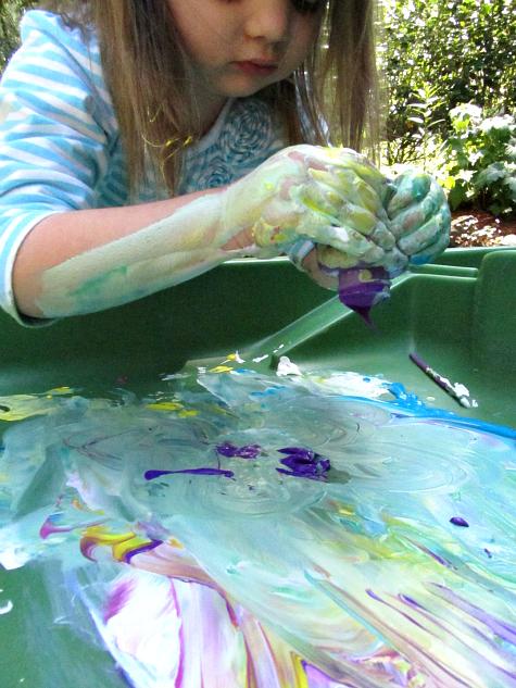 sensory painting outside