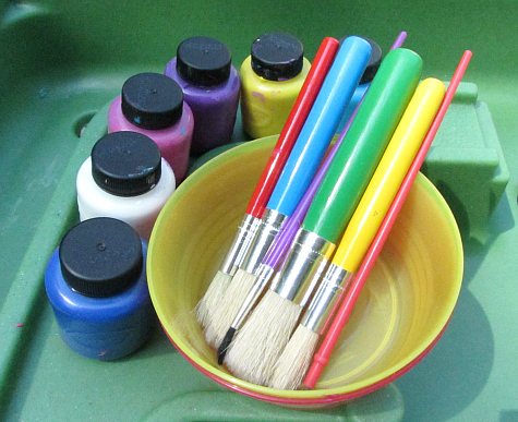 sensory tub painting supplies