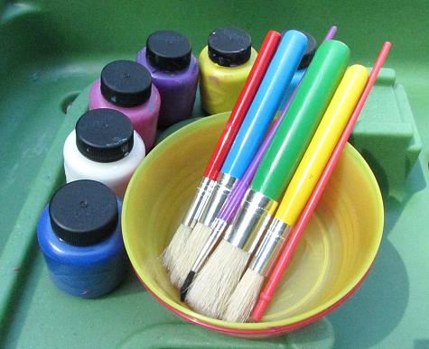 sensory tub painting supplies