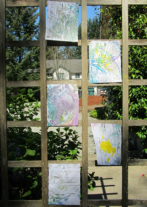 sensory tub prints drying