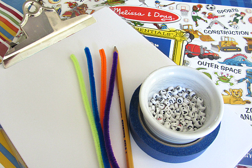 spelling with alphabet beads 2