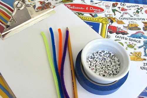 spelling with alphabet beads 2