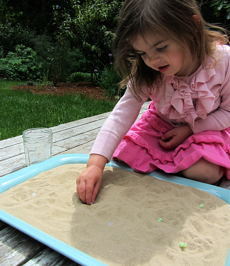 mod podge beach glass sensory bin
