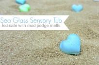 modge podge melts sea glass sensory tub