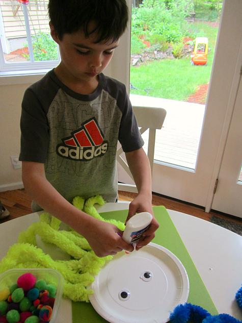Add more glue. paper plate octopus adding glue  sc 1 st  No Time For Flash Cards & Paper Plate u0026 Pom Pom Octopus Craft - No Time For Flash Cards
