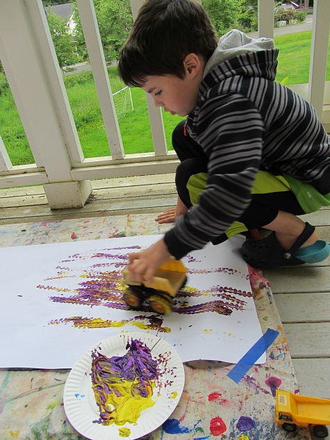 truck painting and color mixing for kids