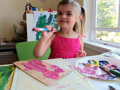 paper bag jelly fish craft painting with pink paint