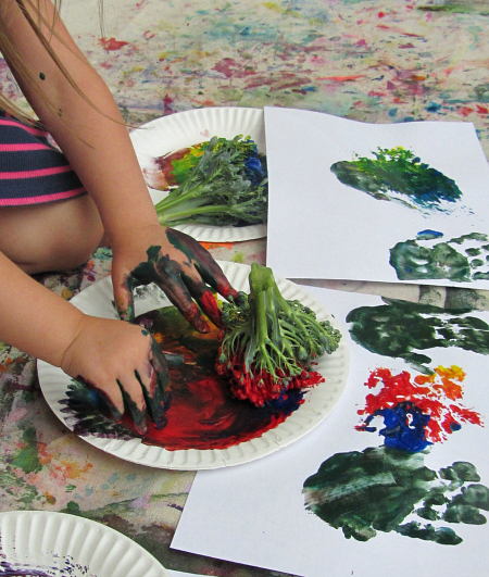 broccoli and finger painting