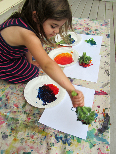 broccoli painting outside