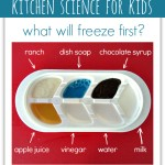 Kitchen Science For Kids { What will freeze first?}