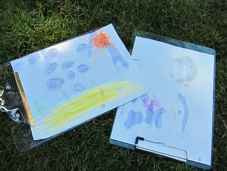 read and draw outdoors
