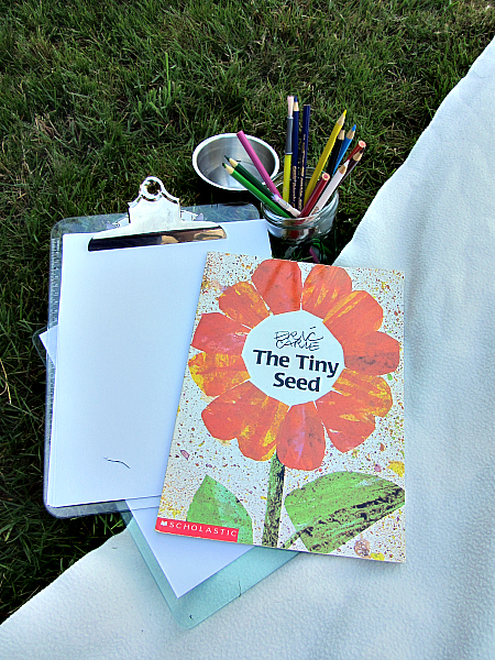 read and draw outside book activity for kids