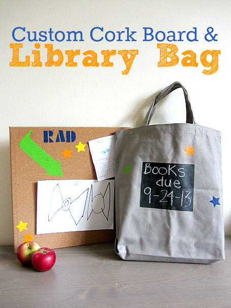 custom cork board and library bag