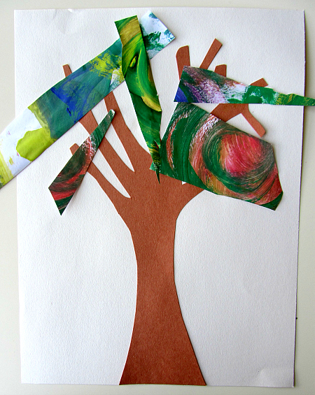 fall collage tree craft for kids