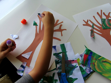 fall tree craft using recycled artwork