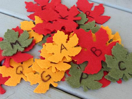 leaf letter recognition activity for preschool