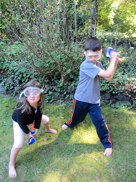 nerf gun backyard math for kids