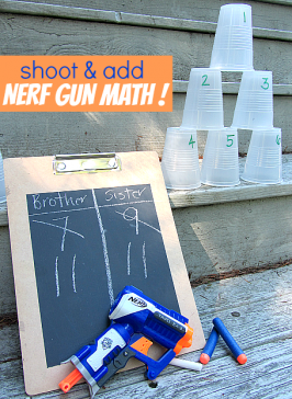 Shoot & Add { Nerf Gun Math For Kids }