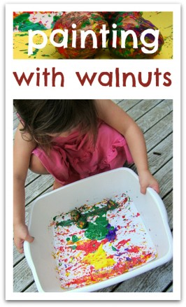 painting with walnuts for preschool