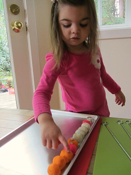 playdough kabobs counting