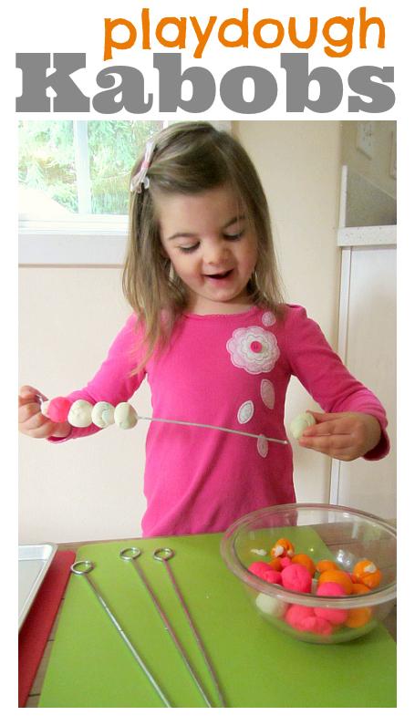 playdough kabobs for kids