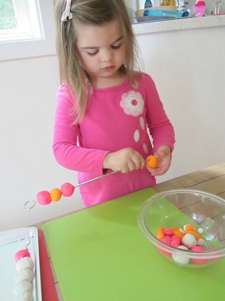 playdough kabobs patterning