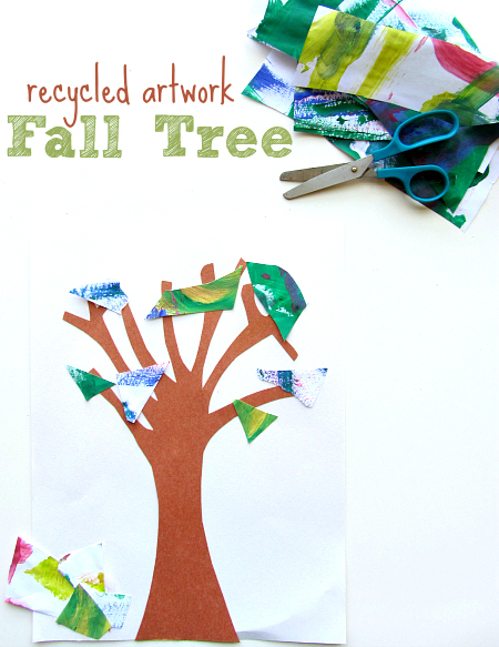 Recycled Art Project For Kids - Fall Trees - No Time For ...