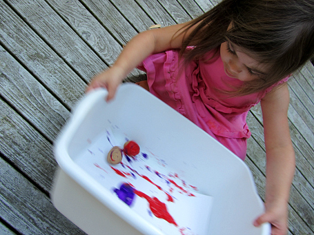 walnut shell painting activity for kids
