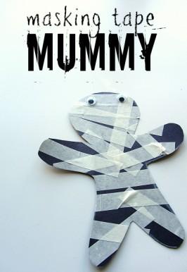 Masking Tape Mummy Halloween Craft For Kids