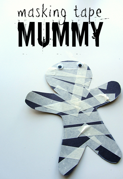 masking tape mummy halloween craft for kids - Preschool Halloween Art Projects