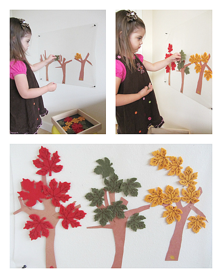 fall leaf sorting and color matching