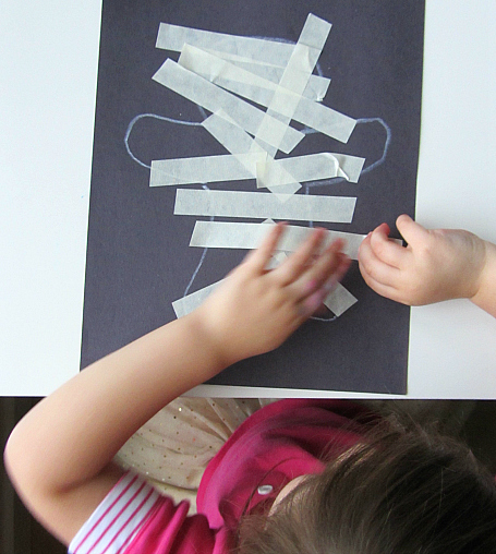 What a great idea! Masking tape mummy craft for kids from notimeforflashcards.com