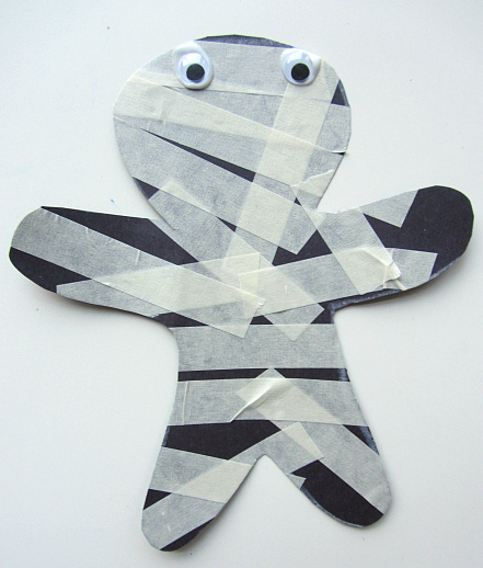 Masking tape mummy craft for young kids from notimeforflashcards.com