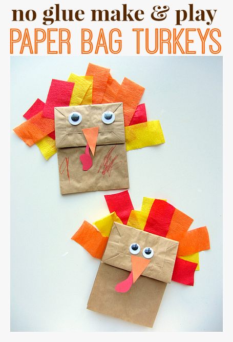 No glue turkey craft for thanksgiving no time for for Thanksgiving turkey arts and crafts