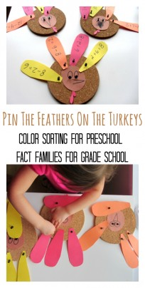 'thanksgiving math for kids' from the web at 'https://www.notimeforflashcards.com/wp-content/uploads/2013/11/turkey-fact-families-and-color-sorting--204x404.jpg'