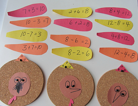 turkey fact family math activity
