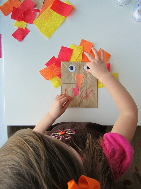 turkey paper bag puppet for kids