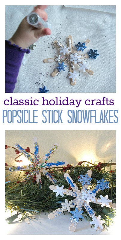 Popsicle Stick Snowflakes craft for kids