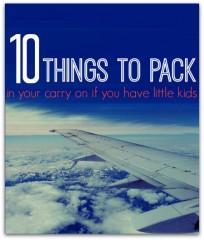 carry on items llist for families