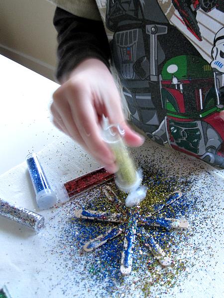 Glitter snowflake ornament crafts for kids no time for for Glitter crafts for kids