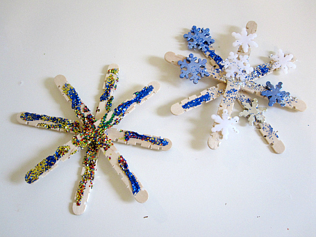 popscicle stick snowflake christmas tree ornaments