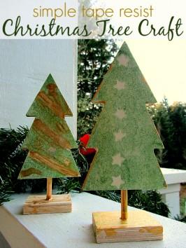 Tape Resist – Easy Christmas Tree Craft