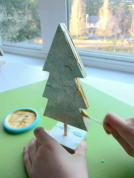 wooden tape resist christmas tree