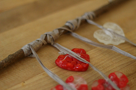 heart windchimes melted beads craft