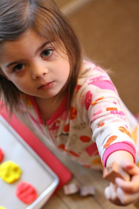 letter match for preschool playdough activity